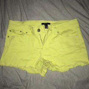 **FOREVER 21** neon yellow stretch jean shorts